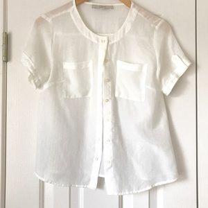 Ann Taylor Loft off white short sleeve blouse